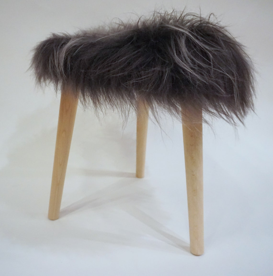 "Icelandic Sheepskin Round Stool - Real Fur In Slate Gray - 16"" wide x 17"" High"
