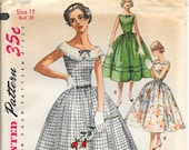 SIMPLICITY 1620 UNCUT Size 11 Bust 29 Sleeveless Full Gathered Skirt Bateau Peter Pan Collar Bow Vintage 1950's Pattern