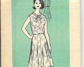 Vintage 1960's Size 10 Mail Order 9179 Bow Tie Neck Sleeveless Short Sleeve Flared Skirt Dress Pattern