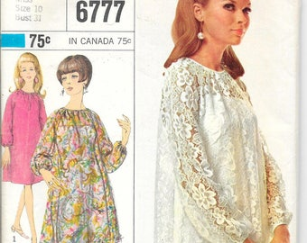 SIMPLICITY 6777 UNCUT Size 10 Bust 32 Long Sleeve Dress and Slip Raglan Sleeves High Round Neck Shift Tent Retro Vintage 1960's Pattern