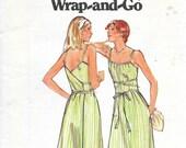 BUTTERICK 5498 UNCUT Size 10 Bust 32 1/2 Wrap and Go Wrap Dress Sundress Summer Dress Pockets Vintage 1970's Pattern