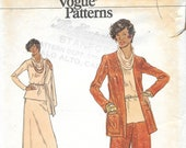 VOGUE 8756 UNCUT Size 10 Very Easy Vogue Knit Suit Flared Bell Bottom Pants Maxi Skirt Jacket Cowl Neck Tunic Top Vintage 1970's Pattern