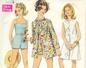 SIMPLICITY 7697 Size 16 Bust 38 Sleeveless Coat Dress Beach Jacket Swim Suit Romper Beach Cover Up Shorts Panties Vintage 1960's Pattern