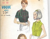 VOGUE 6859 Size 12 Blouse Shirt Sleeveless Short Long Sleeve Pintucks Tucks Pleats Tuxedo Collar Classic Bust 32 Vintage 1960's Pattern