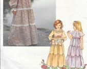 VOGUE 2034 Size 4 Vintage 1970's Girl's Children's Ruffled Prairie Peasant Flower Girl Summer Sun Long Maxi Dress Little Vogue  Pattern