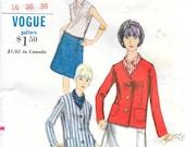 VOGUE 6701 Size 16 Bust 36 Vintage 1960's Jacket Cardigan A-line Skirt Sleeveless Overblouse Shirt Slim Pants Trousers Suit Pattern