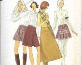 VOGUE 7873 Waist 25 1/2 Vintage 1970's Mini Knee-Length Midi Pleated Skirt Pattern