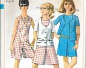 SIMPLICITY 7159 Size 14 Bust 34 Culotte Dress Jacket Shorts Romper Vintage 1960's Pattern