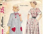 SIMPLICITY 3716 Size 12 Bust 30 Shirtwaist Shirt Dress Robe Housecoat Heart Pockets Peter Pan Collar Button Front Vintage 1950's Pattern