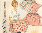 SIMPLICITY 2750 Size Medium 16 18 Apron Full Half Pockets Detachable Bib Square Round Neck V-Neck Smock Vintage 1950's Pattern
