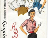 SIMPLICITY 2915 UNCUT Size 18 Bust 38 Vintage 1950's Blouse Shirt Button Front Top Sleeveless 3/4 Cuffed Sleeves Monogram Transfer Pattern