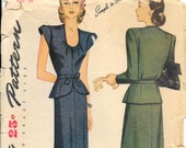 SIMPLICITY 1172 Size 16 Bust 34 Low Round Neck Peplum Short Long Sleeves Slim Skirt Vintage 1940's Pattern