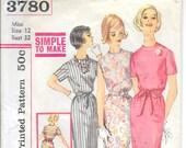 SIMPLICITY 3780 Size 12 Bust 32 Vintage 1960's Belted Sheath Shift Dress. High Round Neck Short Sleeve Slim Pencil Skirt Pattern