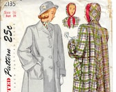 SIMPLICITY 2135 Size 16 Bust 34 Vintage 1940's Coat with Separate Hood and Flared Back Pattern