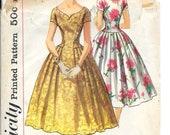 SIMPLICITY 2019 Bust 32 Vintage 1950's Dress Kimono Sleeves Pleated Full Skirt Shaped Neckline Pattern