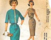 McCALL'S 6047 Size 14 Bust 34 Vintage 1960's Sleeveless Dress Gored Slim Skirt Short Cropped Lined Jacket Sash Tie Belt Pattern
