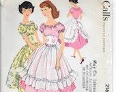 McCALL'S 2164 UNCUT Size 11 Bust 31 1/2 Vintage 1950's Square Dance Peasant Dress and Apron Ruffles Puffed Sleeves Pattern