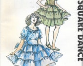 AUTHENTIC PATTERNS 277 UNCUT Size 12 14 16 Square Dance Dancing Dress Costume Tiered Ruffled Skirt Short Puff Sleeves Vintage 1970's Pattern