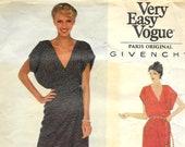 VOGUE 2042 UNCUT Size 12 Bust 34 Givenchy Paris Original Designer Evening Gown Faux Wrap Dress V-Neck Kimono Maxi Vintage 1970's Pattern