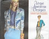 VOGUE UNCUT Mary McFadden Size 6 8 10 12 14 American Designer Pfaff Exclusive Jacket Blouse Top Skirt Skirt Belt Vintage 1970's Pattern