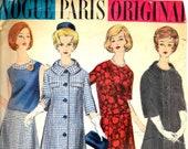 VOGUE 1077 Jacques Heim Size 12 B 32 Paris Original Designer Sleeveless Short Sleeve Two-Piece Dress Coat Gored Skirt Vintage 1960's Pattern