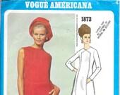 VOGUE 1873 Size 8 Bust 31 1/2 Chuck Howard Vogue Americana Designer A-Line Shift Sheath Dress Sleeveless Long Sleeves Vintage 1960's Pattern