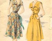 VOGUE 7383 Size 12 Bust 30 Vintage 1950's Large Sailor Collar Deep V-Neck Shirtwaist Button Front Belted Flared Sleeveless Dress Pattern