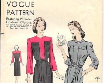 VOGUE 9830 Size 14 Bust 32 Color Block Belted Dress 3/4 Sleeves High Round Neck Collar Slim Skirt Contour Closure Vintage 1940's Pattern