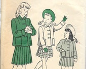 BUTTERICK 4262 Size 6 Breast 24 Vintage 1940's Girl's Two-Piece Box Jacket Pleated Skirt Suit Pattern