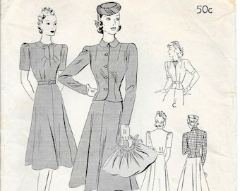 BUTTERICK 8445 UNCUT Size 16 Bust 34 Vintage 1940's Suit Jacket Blazer Blouse Flared Skirt Pattern