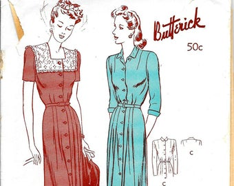 BUTTERICK 2666 Size 14 Bust 32 Pleated Button Front Shirtwaist Shirt Dress Square Neck Short 3/4 Sleeve Belted Yoke Vintage 1940's Pattern