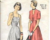 ADVANCE 5190 Size 16 Bust 34 Sun Dress Bolero Princess Seams Collar Straps Short Sleeves Flared Skirt Notched Collar Vintage 1940's Pattern