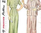 SIMPLICITY 1999 Size 16 Bust 34 Vintage 1940's Two-Piece Pajamas Pyjamas Blouse Shirt Pants Trousers Pattern