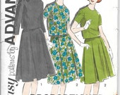 ADVANCE 2763 Size 12 Bust 32 Vintage 1960's Two-Piece Dress Pleated Skirt High Round Neckline Button Back Blouse Top Pattern