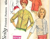 "SIMPLICITY 4464 Size 10, Bust 31"", Vintage 1960's Misses' Button Front Blouse Jacket Bolero Cardigan Retro 1960's Pattern"