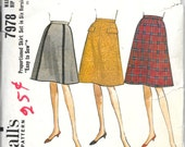 McCALL'S 7978 Waist 25 Hip 34 Proportioned Skirt Set A-Line Flare Gored Vintage 1960's Pattern