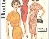BUTTERICK 9786 Size 14 Bust 34 Quick Easy Belted Dress Tie Sash Self Fabric Belt Slim Pencil Skirt Raglan Sleeves Vintage 1960's Pattern