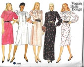 VOGUE 2896 UNCUT Size 14,  Vintage 1970's/80's Shirt Blouse Peter Pan Collar Button Down Tie Neck A-Line Pullover Dress Pattern