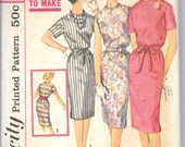 SIMPLICITY 3780 Size 14 Bust 34, Vintage 1960's Simple to Make Drawstring Belted Slim Dress Retro Pattern