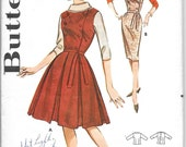 BUTTERICK 9908 Size 16 Bust 36 Vintage 1960's Jumper Dress Blouse Pleated Skirt Slim Pencil Skirt Sleeveless Double Breasted Buttons Pattern