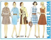 VOGUE 2177 UNCUT Size 12 Bust 34 Basic Design Mod Sheath Dress and Jumper Button Front Patch Pockets Sleeveless Bow Vintage 1960's Pattern