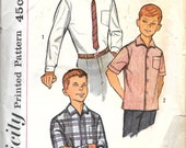 SIMPLICITY 3873 Size 12 Chest 30 Boy's Contour Dress Sport Casual Shirts Collar Pocket Long Short Sleeve Vintage 1960's Pattern