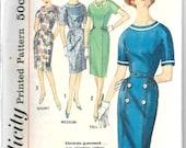 SIMPLICITY 4297 Size 12 Bust 32 Vintage 1960's One-Piece Dress Bateau Princess Seams Straight Slim Skirt Button Belt Kimono Sleeves Pattern
