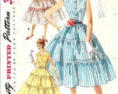 SIMPLICITY 1082 Size 13 Bust 31 Vintage 1950's Shirtwaist Shirt Dress Ruffled Gathered Skirt Square Neck Peter Pan Collar Pattern