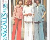 "McCALL'S 4442 UNCUT Size 8 Bust 31 1/2"" Jacket Top Blouse Wide Leg Pants Trousers Pattern Retro 1970's"