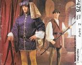 McCALL'S P475 2248 XL Men's Renaissance Medieval Jacket Hat Shirt Leggings Vest Belt Ren Faire Cosplay Costume OOP Pattern