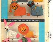 McCALL'S 2374 1950's Transfer Pattern Stuffed Crib Toys Vintage Pattern Cat, Chick, Poodle, Owl, Bunny, Lion, Pig, Elephant Animals