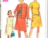 SIMPLICITY 7552 Size 14 Bust 36, Vintage 1960's Mod A-line Skirt Shell Blouse Retro Suit Pattern