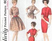 SIMPLICITY 5022 Size 12 Bust 32 Vintage 1960's Shirtwaist Shirt Dress High Neck Short Sleeves Full Gathered Slim Pencil Skirt Button Front