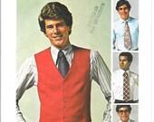 SIMPLICITY 7701 UNCUT Size 44, Vintage 1970's Jiffy Men's Vest and Tie Pattern